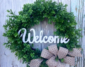 Boxwood Wreath,Front Door Wreath, Year Round Wreaath, Farmhouse Wreath, Boxwood, Wife Gift, Birthday Gift for Her, Mother's Day Gift