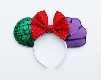 Little Mermaid Ariel Mouse Ears // Mouse Ear Headband