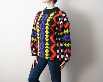 80s 90s Vintage Sweater, Geometric, Multicolored