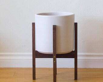 "Medium Mid-century Modern Planter, Plant Stand with 10"" Ceramic - Walnut & Brass"