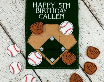 Personalized Baseball Tic Tac Toe - Baseball Game - Baseball Party Favor - Baseball Team Gift