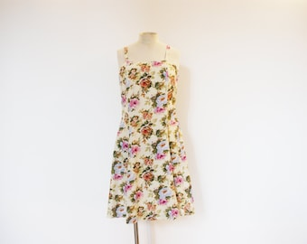 Vintage 80s Yellow Floral Summer Dress - Small