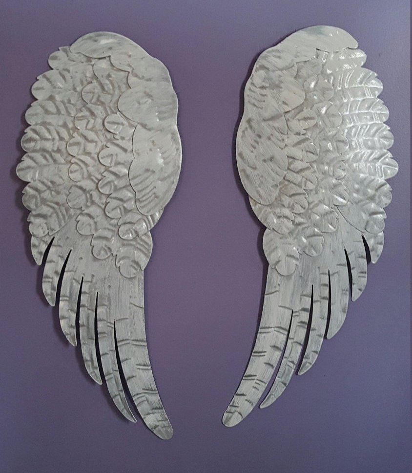 Rustic Angel Wings Wall Decor : Shabby chic metal angel wings wall decor rustic