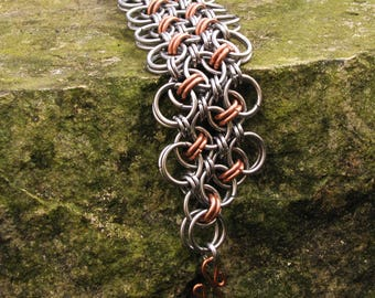 Helm Chain on the Bias Stainless Steel Copper Chainmail Bracelet, Chainmaille Bracelet,