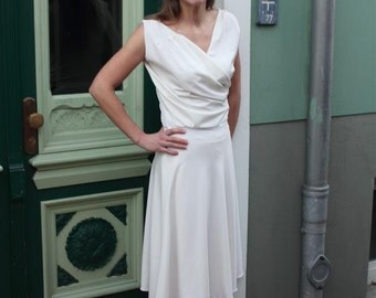 "Elegant white dress ""Aphrodite"" with drape and skirt 40s/50s"
