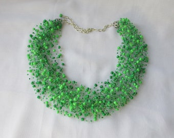 Green necklace air Beaded necklace Multistrand necklace  Beaded jewelry Seed beads necklace Beadwork necklace