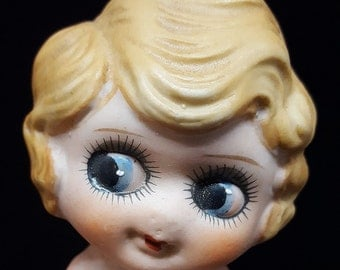 1920s Bisque Kewpie Flapper Doll, Porcelain Made In Japan, Blue Eyes, High Color