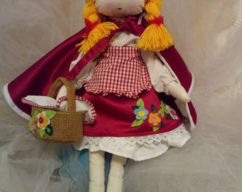 Little red riding hood rag doll/hand made doll//textill doll/pretty doll
