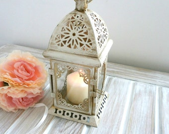 Vintage Moroccan Lantern Shabby chic Lantern Rustic Wedding Lighting Vintage Home Decor Wedding Centerpiece Distressed Lantern Party Decor