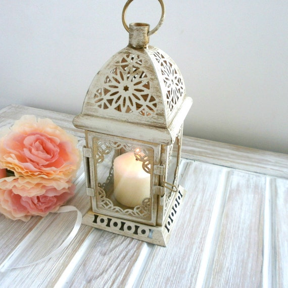 Home Decor Unique Jewelry Hand Crafted Gifts Candles In: Vintage Moroccan Lantern Shabby Chic Lantern Rustic Wedding