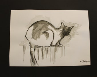original A2 cat painting in black and white, ink cat drawing, animal cat ink art