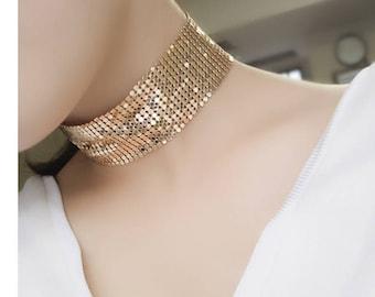 Gold Mesh Choker, Gold Choker, Mesh Choker, Choker Necklace, Gold Choker Necklace, Gold Mesh Choker Necklace, Gold Necklace, Mesh Necklace