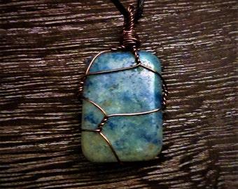 Sodalite Wire Wrapped Gemstone Necklace