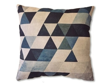 White square canvas pillow with printed triangles / 45x45cm 18x18inches. Decorative pillow, printed accent pillow.