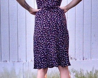 Black Floral Print Dress, 90's, Angie, S-M