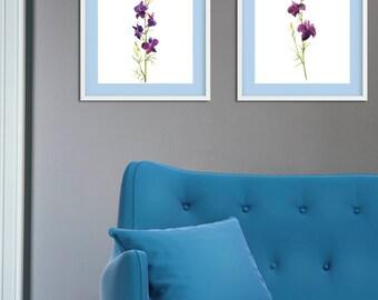 Purple orchid Print, Orchid set of 2, Orchid Illustration, Orchid art, Purple orchid, Orchid Flower, Minimalist Floral Art, Violet flower