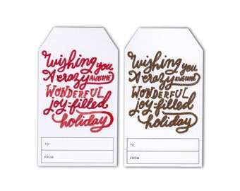 Set of 6 Small Gift Tags - Wishing You an Awesome Holiday - Metallics or Colours - Christmas Gift Tags - Hand Drawn