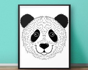 Animal Print Wall Art panda wall art | etsy