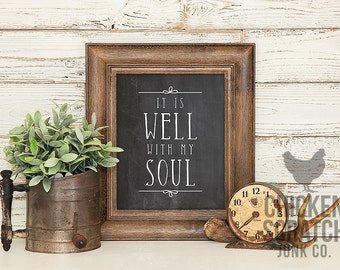 It is Well with My Soul | print | typography | wall art | home decor | chalkboard | faith | hymn | lyrics