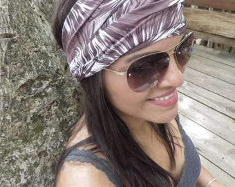 Brown Yoga Headband Running Headband Fitness Headband Hippie Wide Headband Women Head Wrap No Slip Headband Boho Headband Bohemian Turban