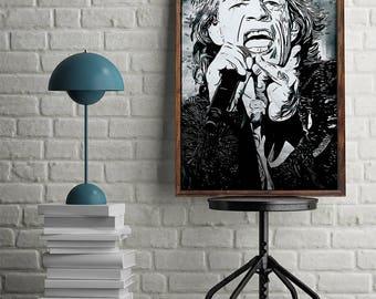 Mick Jagger Poster Rolling Stones Print Pop Art Instant Download Digital Print Mick Jagger Wall Art Vintage Poster Mick Jagger