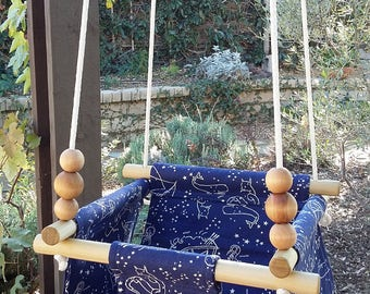 Organic Canvas Swing in Nautical Stars, Baby Swing, Toddler Swing, Indoor Swing, Canvas Indoor/Outdoor Baby And Toddler Swing, Night Sky