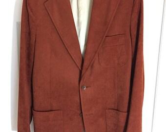 1970's Men's Lester's Orange/Brown Blazer/Sport coat