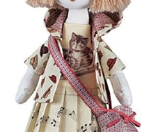 Doll Pianist Girl Sewing Kit Textile carcass doll  Interior Doll  Nova Sloboda