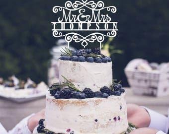 Personalized wedding cake topper, Mr. and Mrs. last name topper, wedding cake decoration, monogram cake topper, custom name cake topper