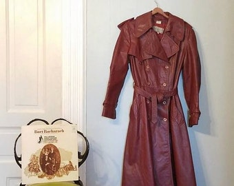 Vintage Beged-Or 70s Leather Maroon Womens Jacket