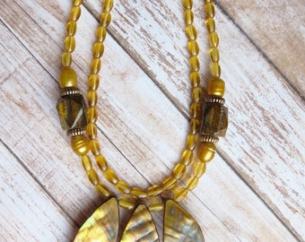 yellow statement necklace - CO196