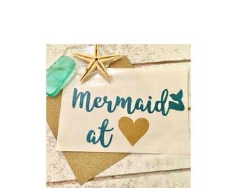 Mermaid decal, Mermaid at heart decal, Mermaid decal Yeti, Yeti decal for women, Mermaid glitter Yeti