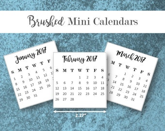 2017 Brushed Mini Calendars • Editable Printable Template • PDF + Word