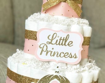 Princess Diaper Cake, Pink and Gold Royal Baby Shower, Tiara Diaper Cake, Little Princess Crown, Shower Centerpiece Decor Gift, 3 Tier