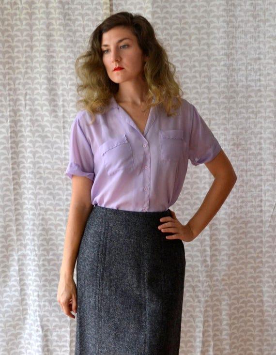 Lilac Petal Blouse | vintage 80's lavender sheer chiffon blouse | medium