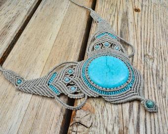 Macrame necklace Turquoise blue Magnesite Boho