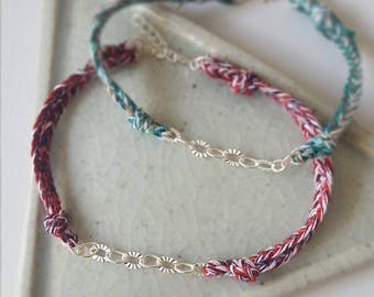 Hand braided silver chain bracelet green mix 925 sterling silver hand knotted