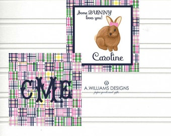 INSTANT DOWNLOAD/Printable Easter/gift tags for kids/personalized cards/PINK madras plaid/3x3 bunny Easter cards