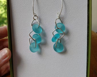 Argentium Silver and Sea Glass Earrings with SQUARE jump rings!