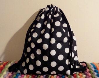 Polka Dot Black and White Drawstring Backpack