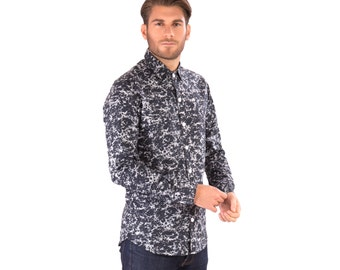 Mens 100% Cotton Long Sleeve Slim Fit Shirt Black White Print