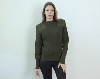 Vintage Military Sweater // 80s Wool Pullover Army Olive Green Womens - Medium