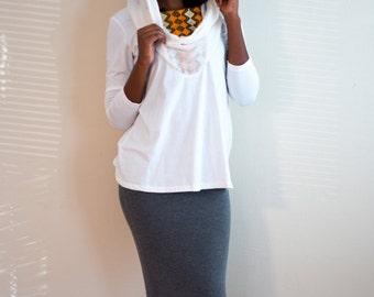 Tunic With Scarf, Ethiopian Top ,Organic Cotton, Tunic for women, Sweater For Women, Tunic with A Hood