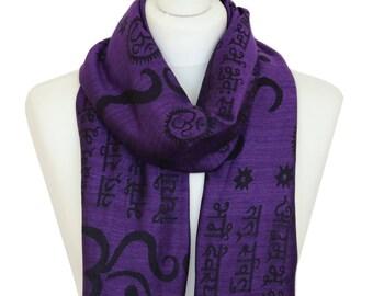 Gayatri Mantra Om Scarf, Purple Yoga Scarf, Meditation Scarf, Sanskrit Chants Scarf, Womens Scarves, Gifts for Her, Handmade Accessories