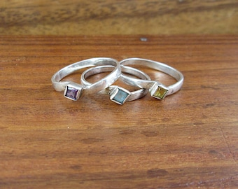 SALE - 3 x Sterling Silver Stacking Rings - Size 7
