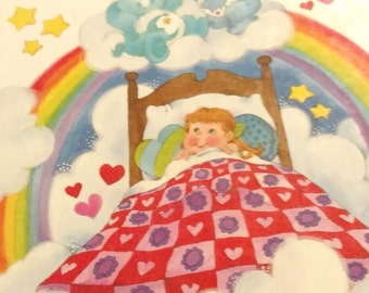 Vintage 1983 Care Bears 'Sweet Dreams For Sally' Hardcover Parker Brothers Storybook