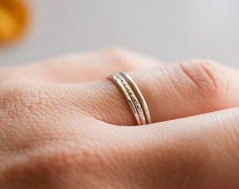 set of three skinny sterling silver rings, set of 3 stackable skinny silver rings, hammered stacking rings