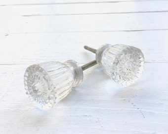 Shabby Chic Glass Knobs , Vintage Style Kitchen Cabinet Knobs , Bathroom Accessories , Glass Hardware , Crystal Scalloped Edge Drawer Pull ,