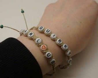 Hemp Word Bracelets, Quirky Cool/I Am Loud, Inspirational Sayings Bracelets, Woven Hemp Bracelets, Adjustable Bracelets