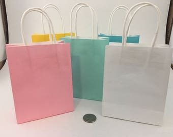 Customized Gift Bags - 3 Piece - Mini Gift Bags - Mini Favor Bags - Party Favors - Favors - Yellow - Tiffany Blue - Pink - White - Blue
